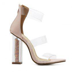 Patent Leather Crystal Heel Sandals