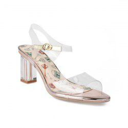 Block Heel Transparent Plastic Sandals
