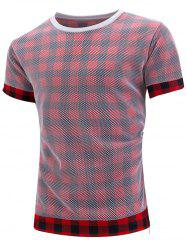 Side Zip Mesh Cover Plaid T-Shirt