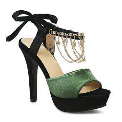 Rhinestones Chains Velvet Sandals