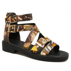 Buckle Straps Butterfly Printed Sandals