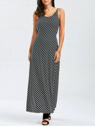 Stripe Backless Maxi Dress