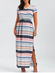 Slit Short Sleeve Striped T Shirt Maxi Dress