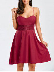 Mini A Line Slip Dress - WINE RED