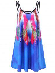 Feather Print Summer Slip Beach Dress - BLUE
