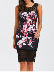 Floral Sleeveless Lace Insert Bodycon Bandage Dress