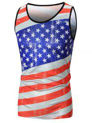 Star and Stripe Print Mesh Patriotic Tank Top