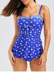 Polka Dot Tankini with Ruffles - BLUE