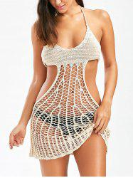 Open Back Halter Crochet Cover Up