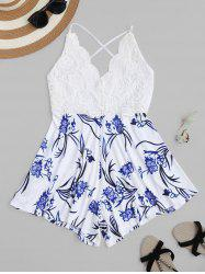 Backless Lace Insert Floral Romper - WHITE
