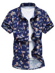 Short Sleeve Bird and Flower Print Shirt