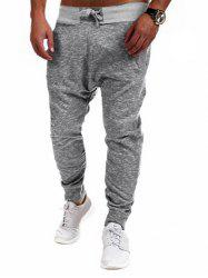 Two Tone Drawstring Jogger Pants - GRAY