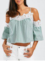 Laced Striped Cold Shoulder Top