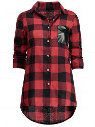 Single Breasted High Low Plaid Shirt
