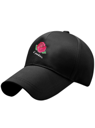 Bowknot Tail Rose Embroidered Baseball Hat