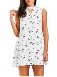 Chiffon Sleeveless Butterfly Printed Choker Dress