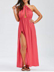 Maxi Halter Chiffon Low Back Slit Formal Prom Dress