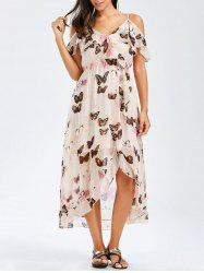 Asymmetric Butterfly Print Chiffon Dress - PINK