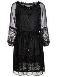 Lace Trim Tie Waist Sheer Chiffon Dress