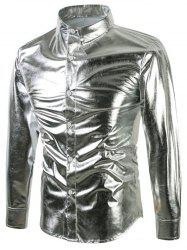Bling Metallic Sequined Long Sleeeve Shirt