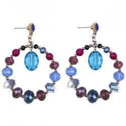 Faux Crystal Bead Circle Earrings