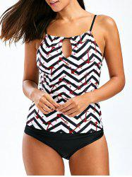 Anchor Print Keyhole Backless Tankini Swimsuits