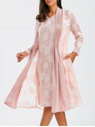 V Neck Sleeveless Flower Dress With Coat - PINK