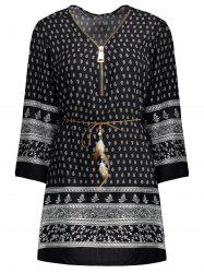 Ethnic Print Belted Zipper Design Dress