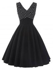 Vintage Polka Dot Insert Pin Up Flare Dress -