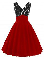 Vintage Polka Dot Insert Pin Up Flare Dress - RED