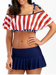 American Flag Patriotic Cold Shoulder Skirtini Set