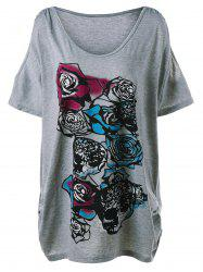 Plus Size  Cold Shoulder Rose Graphic T-Shirt