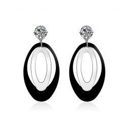 Layered Rhinestone Oval Drop Earrings