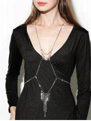 Rhinestone Geometric Fringed Layered Body Chain - SILVER