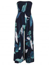 Strapless High Waisted Shirred Leaf Print Jumpsuit