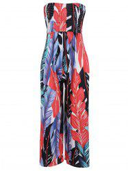 Strapless High Waisted Shirred Leaf Print Jumpsuit -