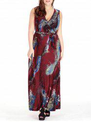 Feather Printed Plus Size Long Surplice Dress