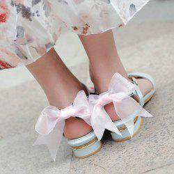 Faux Leather Back Bow Flat Sandals