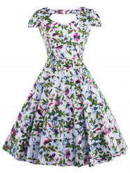 Allover Print Cut Out Vintage Choker Dress
