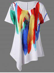 Plus Size Long Feather Print Asymmetric T-Shirt