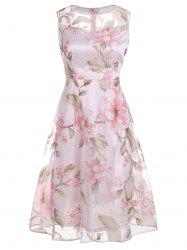 Floral Printed Sleeveless Organza A Line Midi Dress - PINK