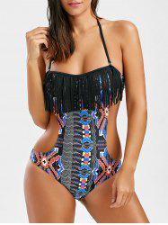 Chevron Fringed One-Piece Swimwear