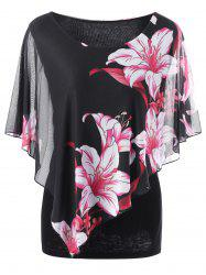 Overlay Floral Casual Plus Size T-Shirt - BLACK