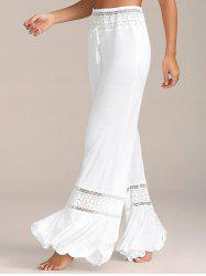 Lace Insert High Waisted Flowy Palazzo Pants - WHITE