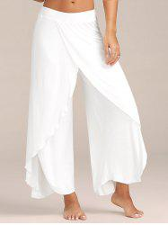 Flowy Layered High Waisted Slit Palazzo Pants - WHITE