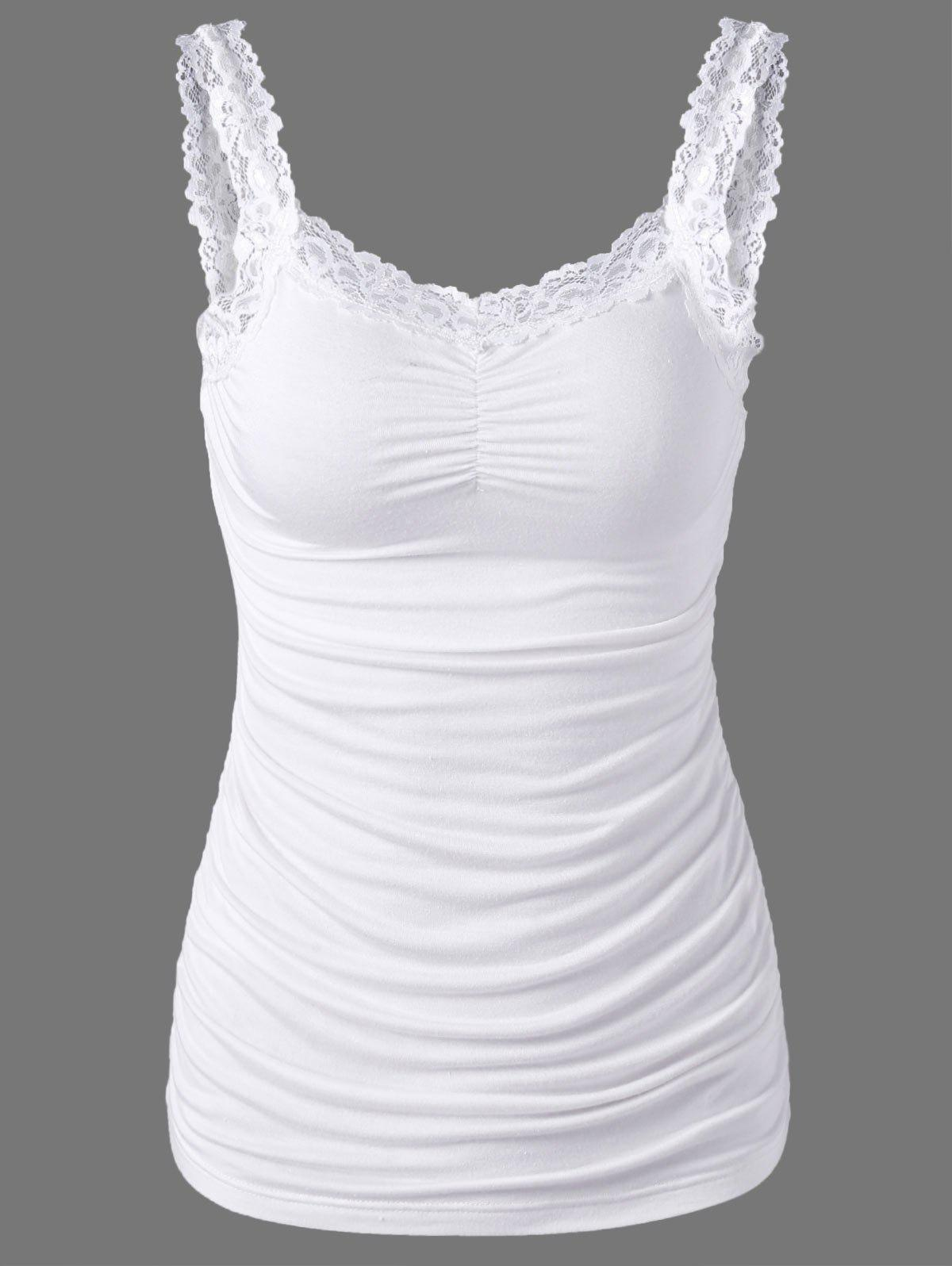 Fancy Lace Trim Ruched Tank Top