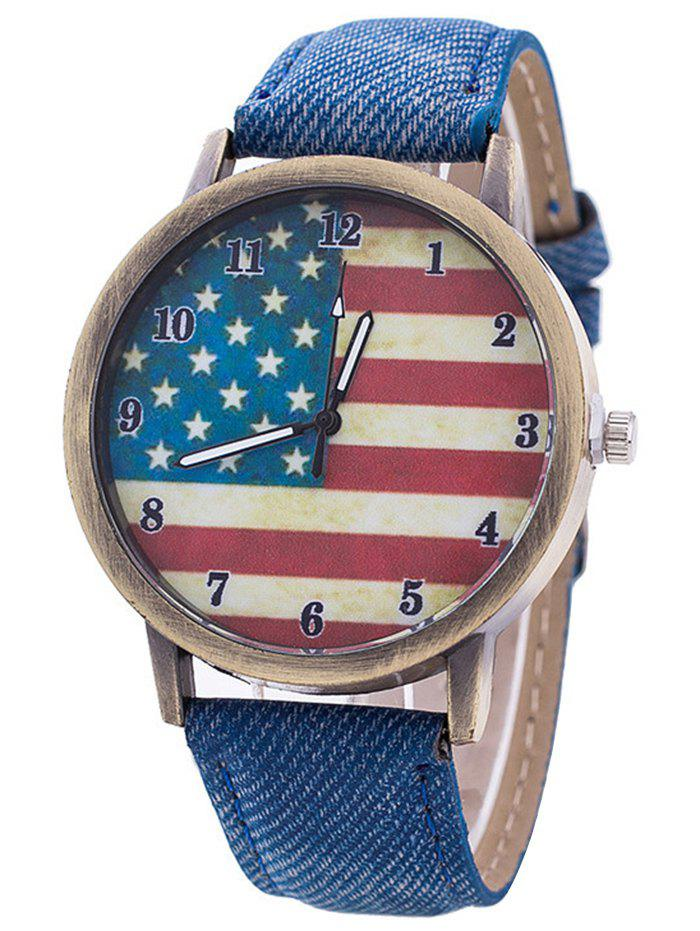 Stars And Stripes Flag Number  Jeans WatchJEWELRY<br><br>Color: BLUE; Gender: For Women; Style: Fashion; Type: Quartz watch; Index Dial: Analog; Case material: Alloy; Band material: PU Leather; Movement: Quartz; Dial Shape: Round; Water-Proof: No; Case Thickness(MM): 10mm; Dial Diameter: 4cm; Band Length(CM): 24cm; Band Width(CM): 1.9cm; Package Contents: 1 x Watch;