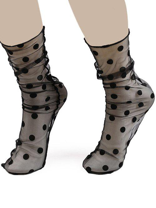 Sheer Lace Socks with Polka Dot JacquardACCESSORIES<br><br>Color: BLACK; Type: Socks; Group: Adult; Gender: For Women; Style: Fashion; Pattern Type: Polka Dot; Material: Polyester; Length(CM): 42CM; Width(CM): 8CM; Weight: 0.0200kg; Package Contents: 1 x Socks(Pair);