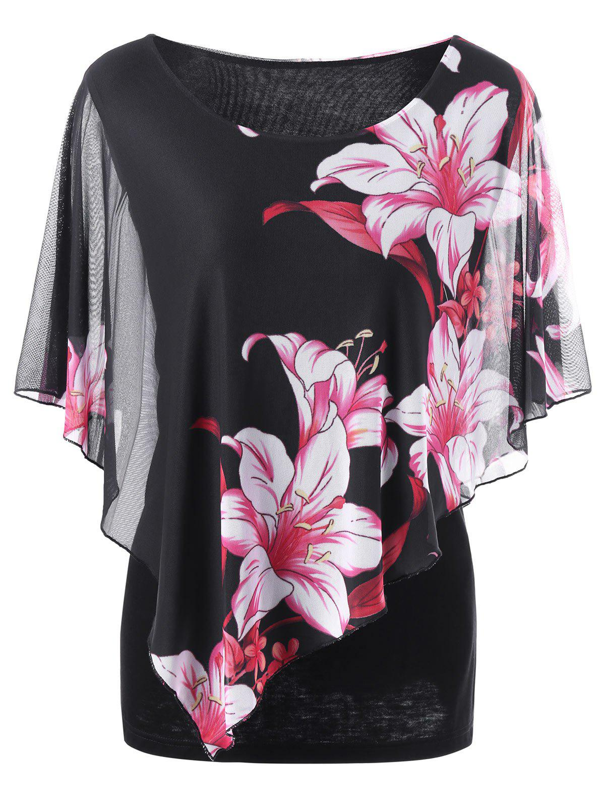 Overlay Floral Casual Plus Size T-ShirtWOMEN<br><br>Size: 2XL; Color: BLACK; Material: Nylon,Spandex; Shirt Length: Long; Sleeve Length: Short; Collar: Scoop Neck; Style: Casual; Season: Summer; Pattern Type: Floral; Weight: 0.3800kg; Package Contents: 1 x T-Shirt;