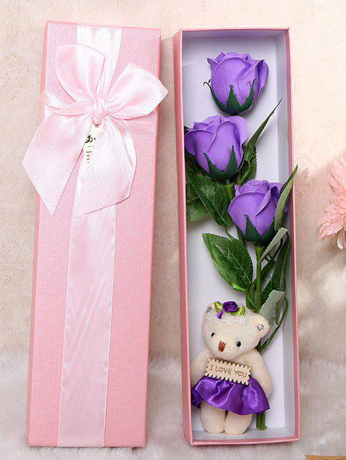 Affordable 3 Pcs Handmade Soap Rose Artificial Flower and Bear